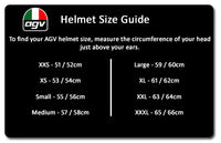 AGV K3 SV MISANO Full Face Motorcycle Helmet size fitting guide