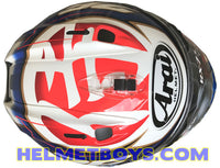 Arai RX7X Pedrosa Samurai full face motorcycle helmet top view