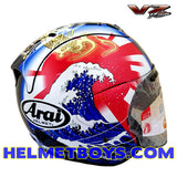 ARAI RAM VZRAM Oriental2 Motorcycle Helmet right view hokusai wave
