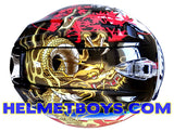 ARAI RAM VZRAM Oriental2 Motorcycle Helmet top view golden dragon