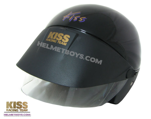 KISS Shorty Open Face Motorcycle Helmet black slant