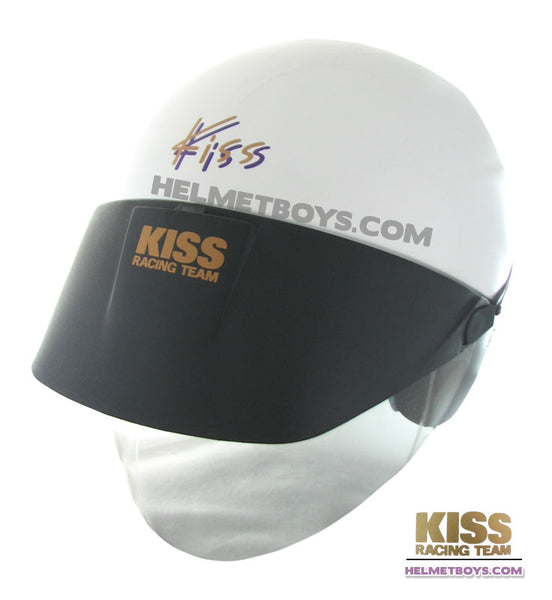KISS Shorty Open Face Motorcycle Helmet white slant
