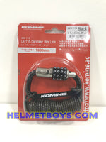 Komine LK-115 Carabiner Motorcycle Helmet Wire Lock original packaging