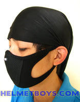 Motorcycle half face mask black ear support haze coronavirus sars