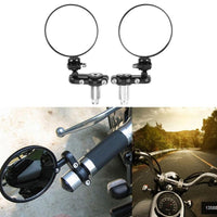 Motorcycle Handle Bar End Rearview Side Mirrors Round