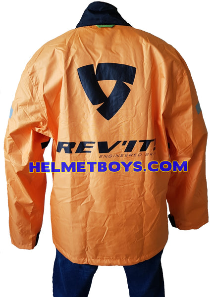 REVIT Combi2 Motorcycle Raincoat ORANGE back view