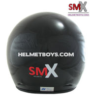 SMX open face motorcycle helmet back view