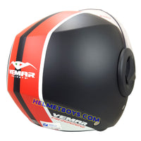 VEMAR BREEZE 3/4 jet style open face motorcycle helmet back view matt red