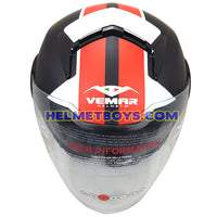VEMAR BREEZE 3/4 jet style open face motorcycle helmet top view matt red