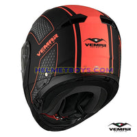 EMAR Sharki HIVE Flip Up Motorcycle Helmet matt orange back view