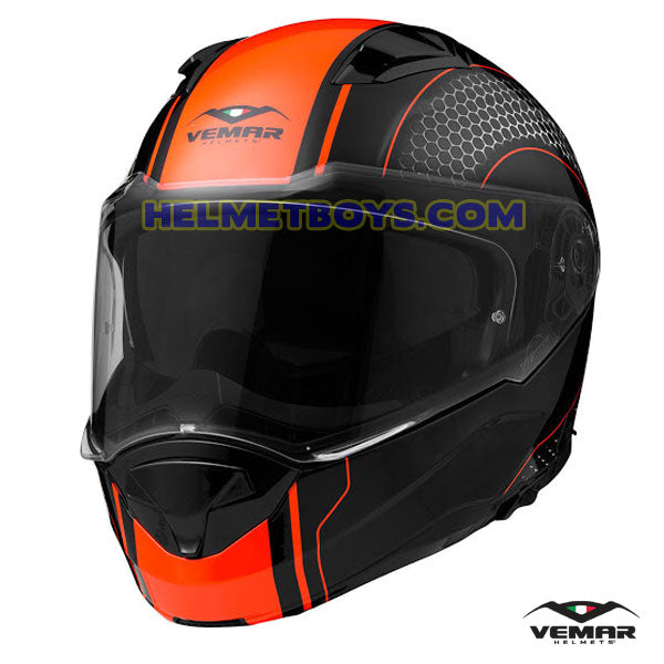 EMAR Sharki HIVE Flip Up Motorcycle Helmet matt orange front view