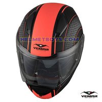 EMAR Sharki HIVE Flip Up Motorcycle Helmet matt orange top view