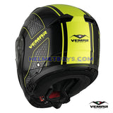 EMAR Sharki HIVE Flip Up Motorcycle Helmet matt yellow back view