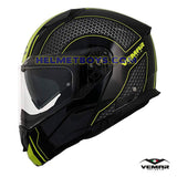 EMAR Sharki HIVE Flip Up Motorcycle Helmet matt yellow side view