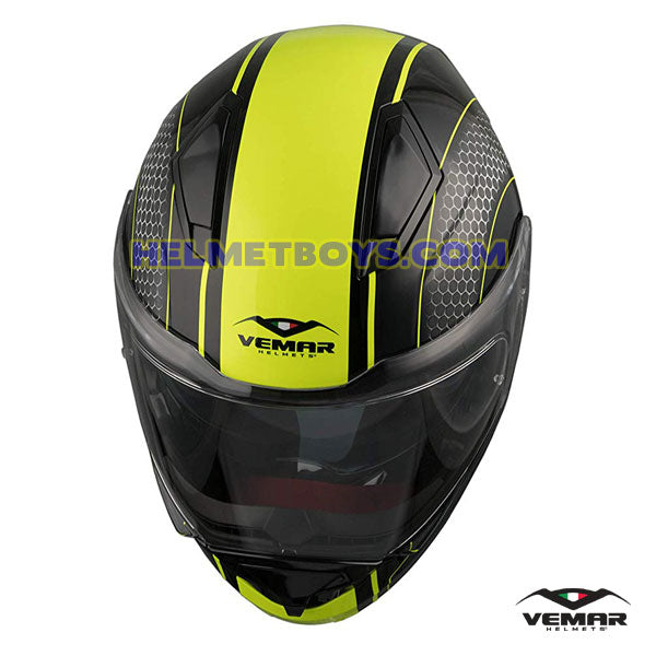 EMAR Sharki HIVE Flip Up Motorcycle Helmet matt yellow top view
