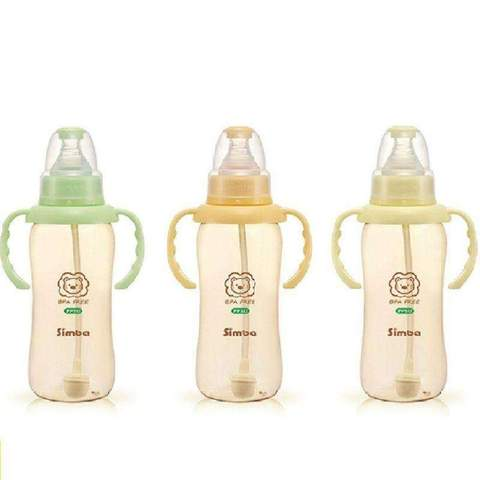 Simba PPSU Wide Neck Feeding Bottle with Auto Straw & Handle 360ml:Totsworld Pte Ltd