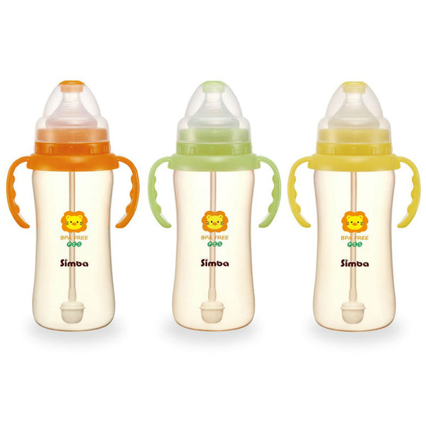 Simba PES Wide Neck Feeding Bottle With Straw and Handle 270ml:Totsworld Pte Ltd