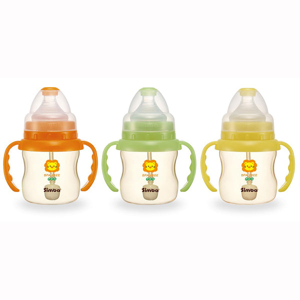 Simba PES Wide Neck Feeding Bottle With Straw and Handle 150ml:Totsworld Pte Ltd