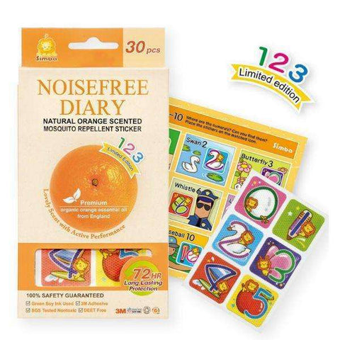 Noisefree Diary-Natural Orange Scented Mosquito Repellent Sticker 30 pcs-Numerals Limited edition:Totsworld Pte Ltd