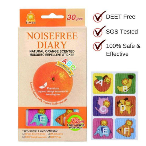 Noisefree Diary-Natural Orange Scented Mosquito Repellent Sticker 30 pcs- Limited edition:Totsworld Pte Ltd