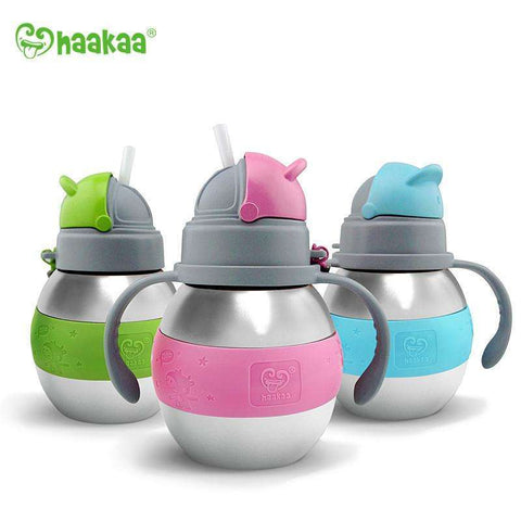 Haakaa 280ml Wide Neck Stainless Steel Thermal Straw Bottle:Totsworld Pte Ltd