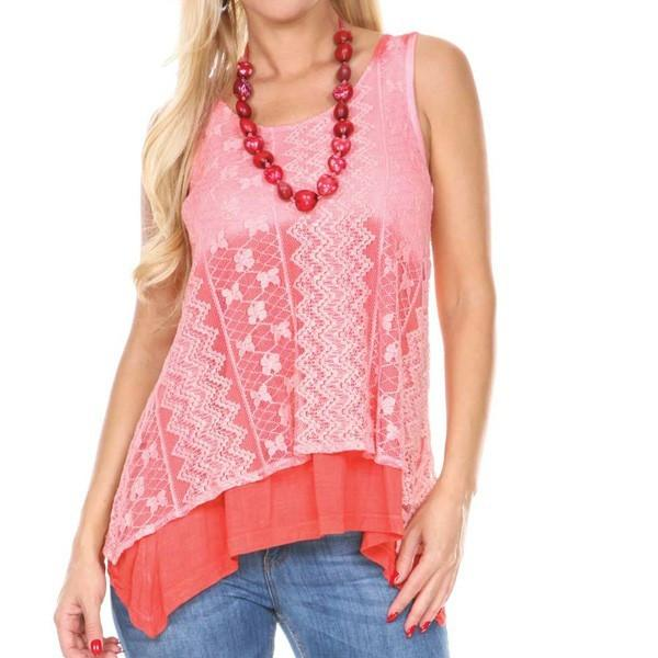 DOUBLE LAYER LACE TOP OMBRE