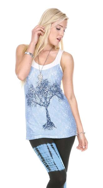 TREE PRINT LACE TOP