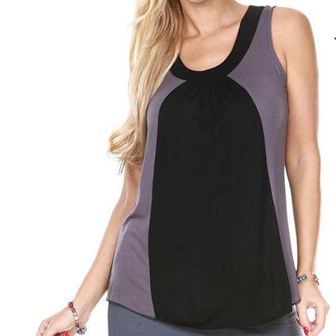 COLOR BLOCK TANK TOP LACE ON BACK