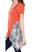 Tunic Top With Floral Chiffon Applique