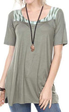SHORT SLEEVE TUNIC TOP TIE DYE APPLIQUE