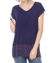 T- SHIRT CAP SLEEVE WITH APPLIQUE ON HEMLINE