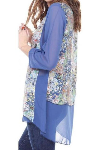 Women's Clothing | Woman's Contemporary Fashion | Chiffon High-Low Tunic Floral Loose Fit
