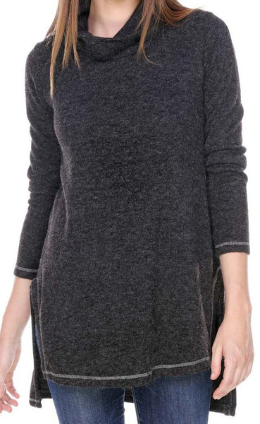 TUNIC SWEATER COWL NECK SPLIT SEAM