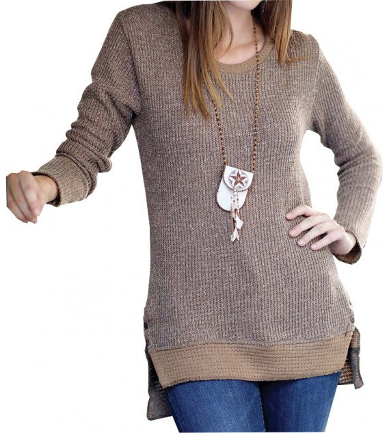 FASHIONABLE TUNIC SWEATER  FITTED SCOOP NECK