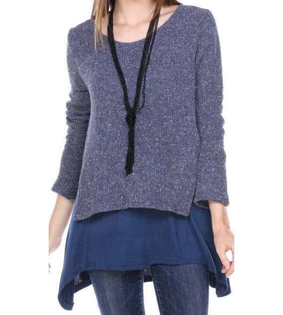 TUNIC SWEATER DOUBLE LAYERED ASYMMETRICAL HEM LINE