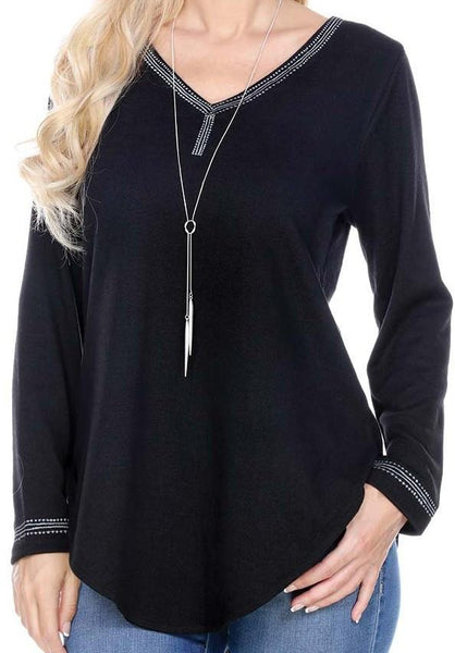 V NECK TUNIC TOP  CURVED HEM