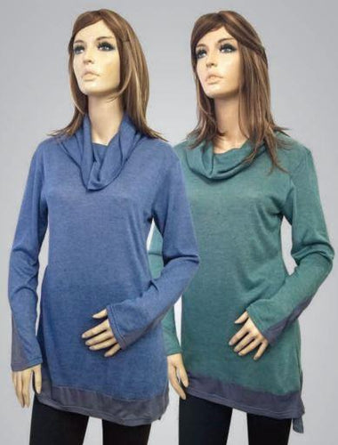 COWL NECK LONG SLEEVE TUNIC TOP