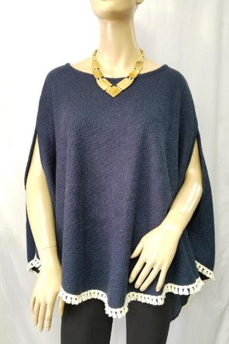 Point Hem Pullover Poncho
