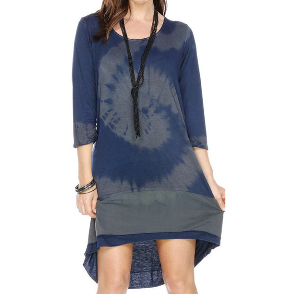 HIGH LOW TIE DYE DRESS ORGANZA APPLIQUE