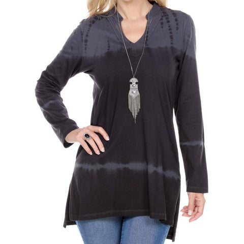 TIE DYE TUNIC TOP LONG SLEEVE MANDARIN COLLAR