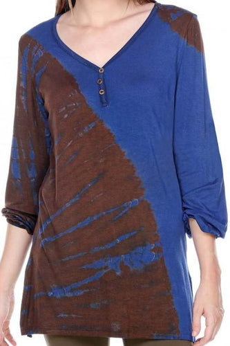 V-Neck Long Cuff Sleeve Tie-Dye Tunic Top