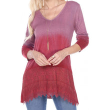 TUNIC TOP OMBRE WITH LACE APPLIQUE