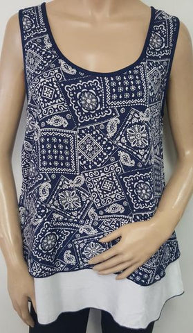 DOUBLE LAYERED PRINT TUNIC TOP