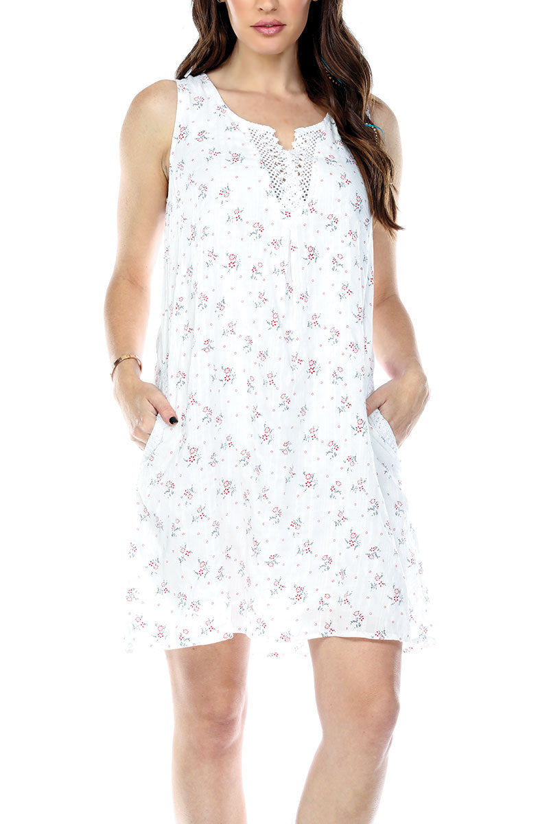 Dress Floral Trim Lace V-Neck Lined