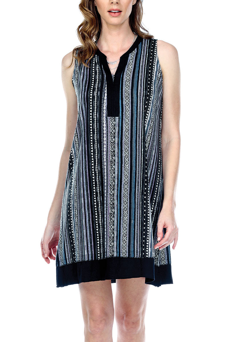 Dress Striped Tribal Print Loose Fit