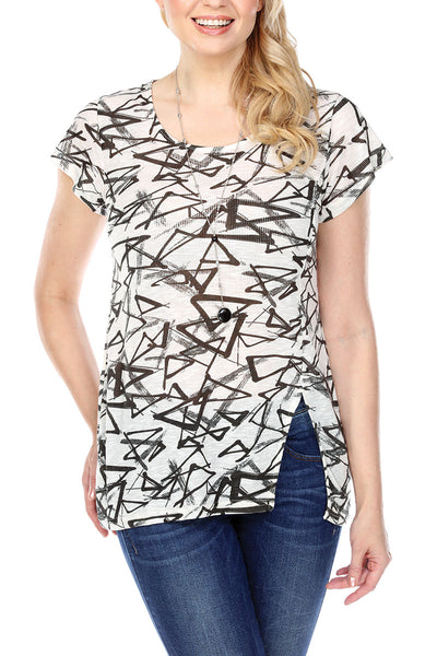Tunic Top Abstract Triangle Print