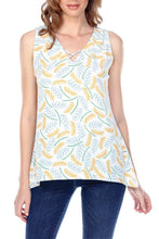 Women's Clothing | Woman's Contemporary Fashion | Leaf Print Crisscross V-Neck Sleeveless Top