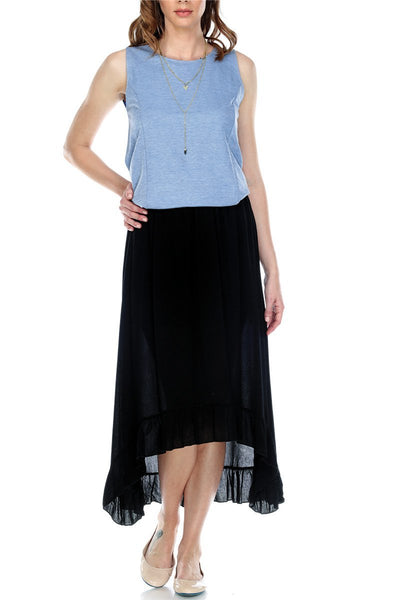 Skirt High Low Ruffled Hem Lined Elastic Waistband