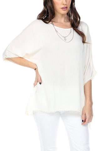 Women's Clothing | Woman's Contemporary Fashion | Oversize Mini Tassels On Hem & Cuffs Round Neck Top