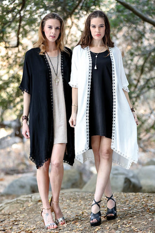 Women's Clothing | Woman's Contemporary Fashion | Lace Trim Solid Color Dolman Sleeves Duster